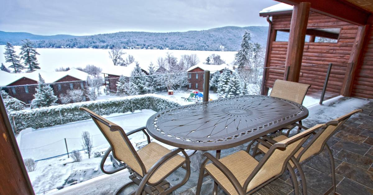 winter view of lake from balcony