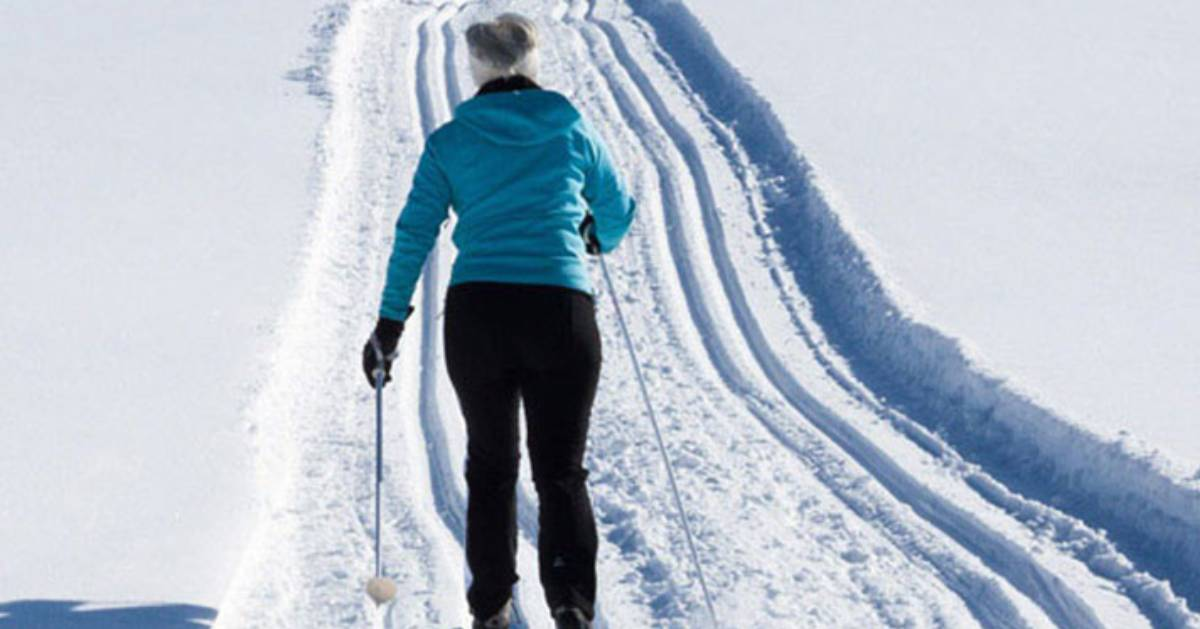 a woman cross country skiing down a trail
