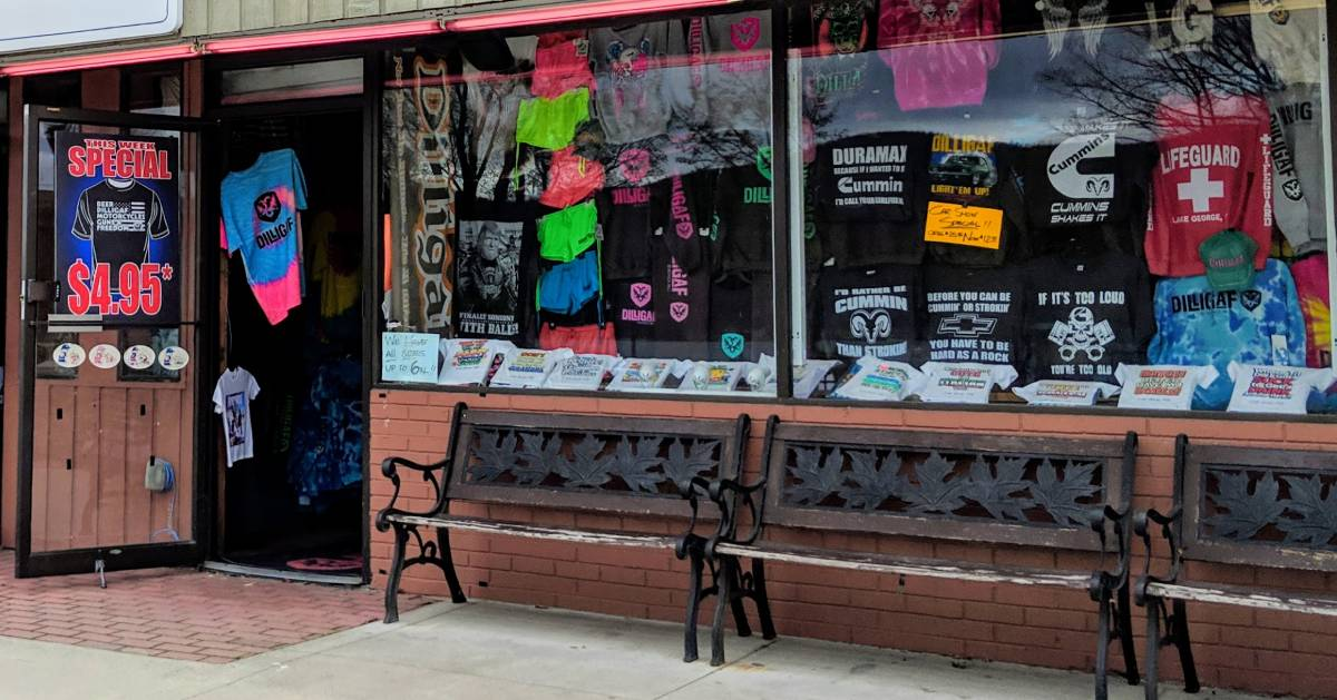 storefront with benches