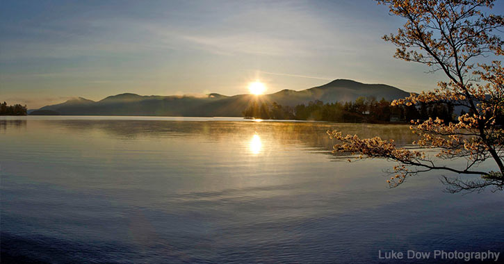 sunrise over lake george from bolton landing