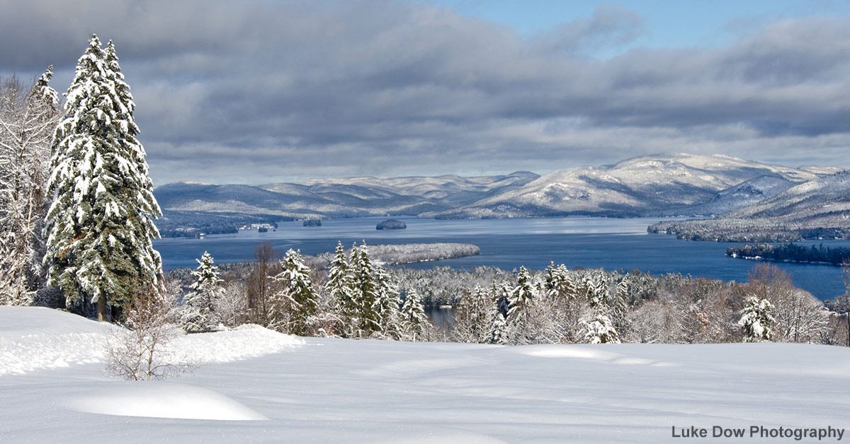 view of lake george from the top of the world after a snow storm