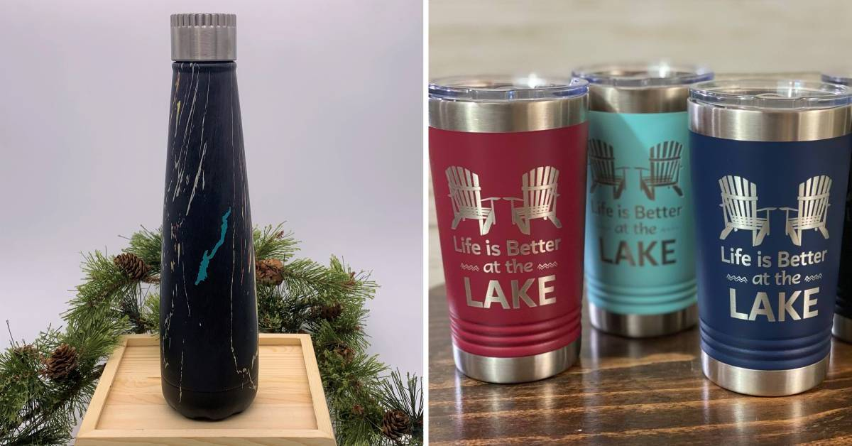 left image of water bottle and right image of tumblers
