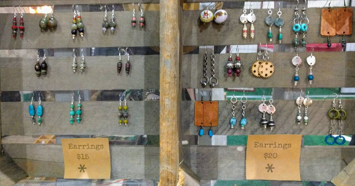 Hhandmade earrings display
