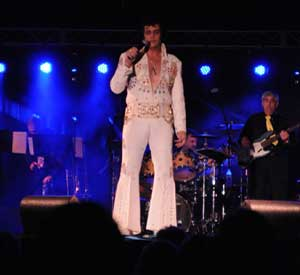 Elvis tribute artist performing at Lake George Elvis Festival