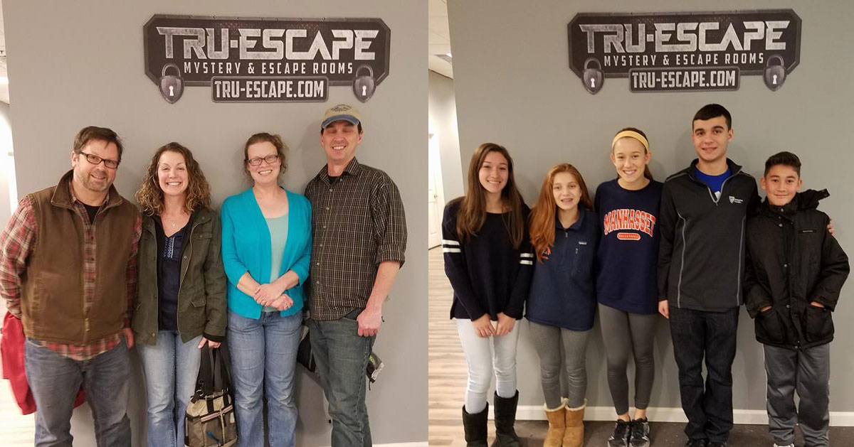 split image with groups of people standing in front of Tru-Escape sign