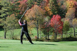 golfer outside in fall