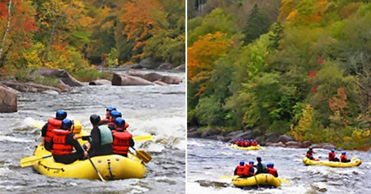 Whitewater rafters going down the river during fall
