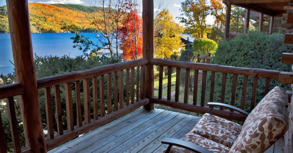 view from a deck of fall folige