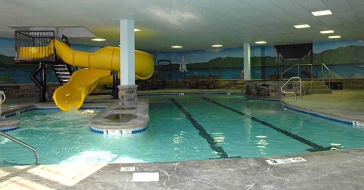 Pool area at Comfort Suites Lake George
