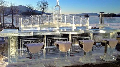 ice bar overlooking lake george