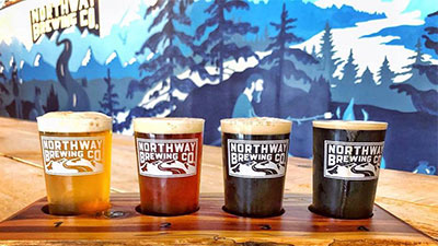 flight of beers at northway brewing