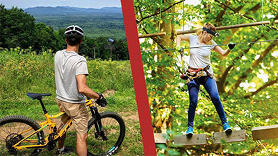mountain biker and woman on aerial course