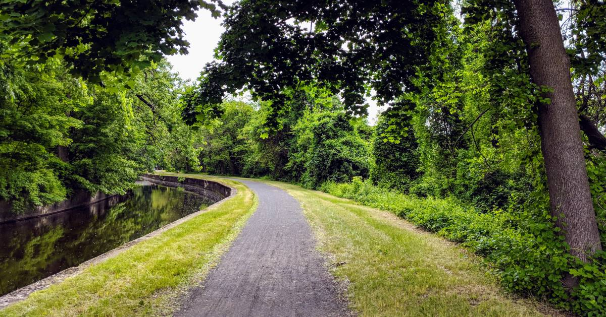 walking path by a canal