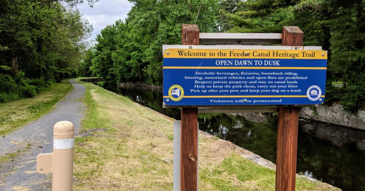 Feeder Canal Towpath Trail sign