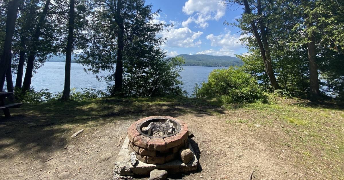 a fire pit on an island