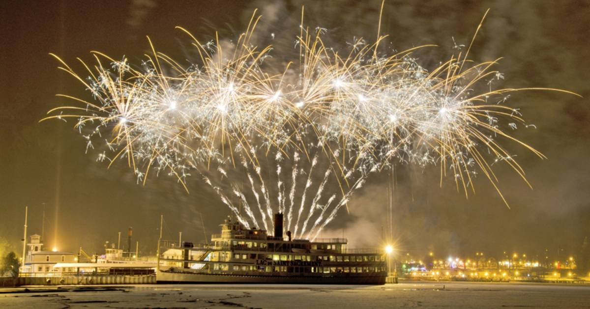 fireworks cruise at night in winter