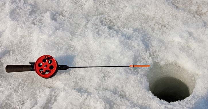 fishing pole on the ice