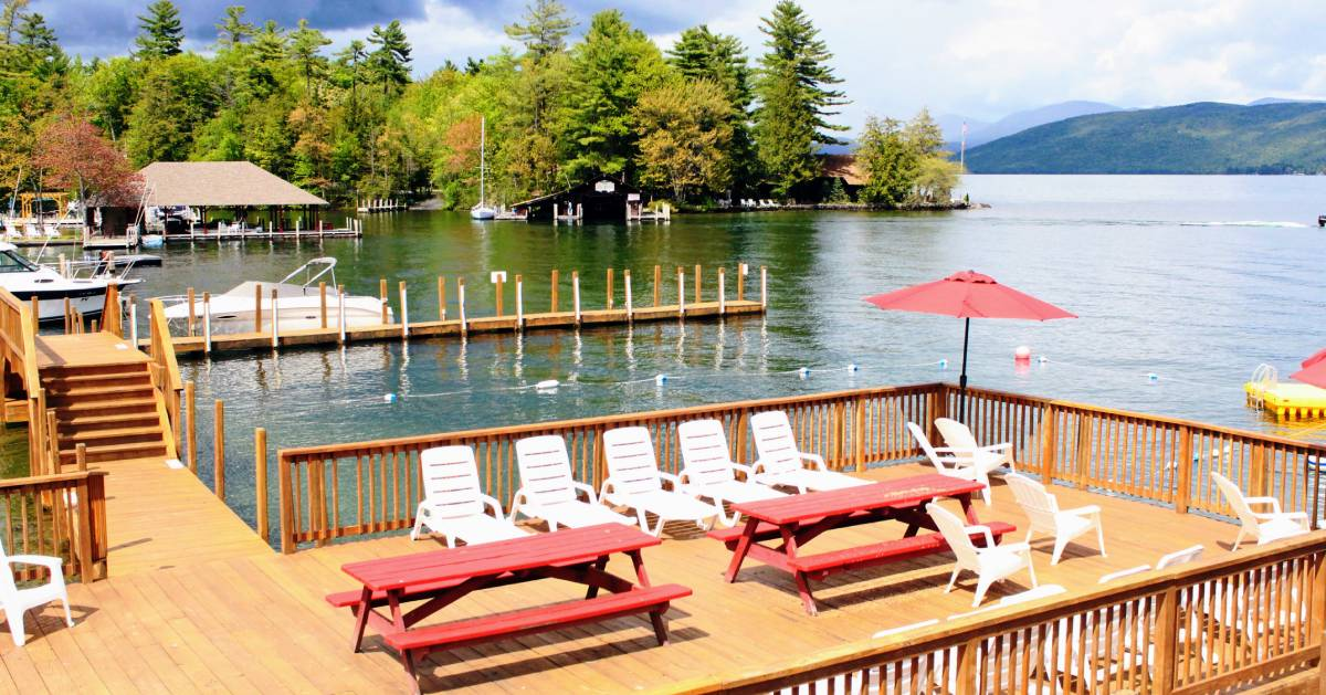 deck and docks with chairs
