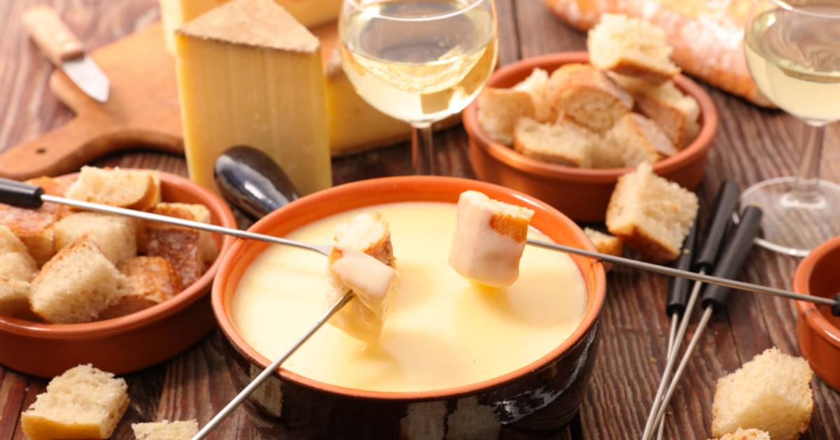 fondue and wine