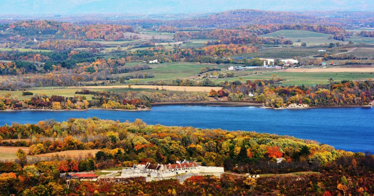 Fort Ticonderoga and mountain view in the fall, aerial view
