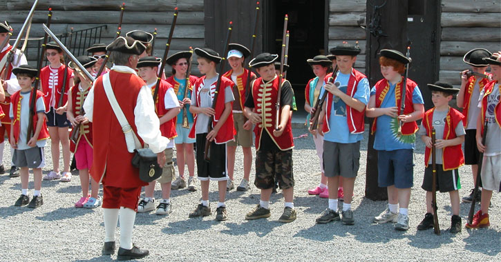 kids at a fort william henry presentation