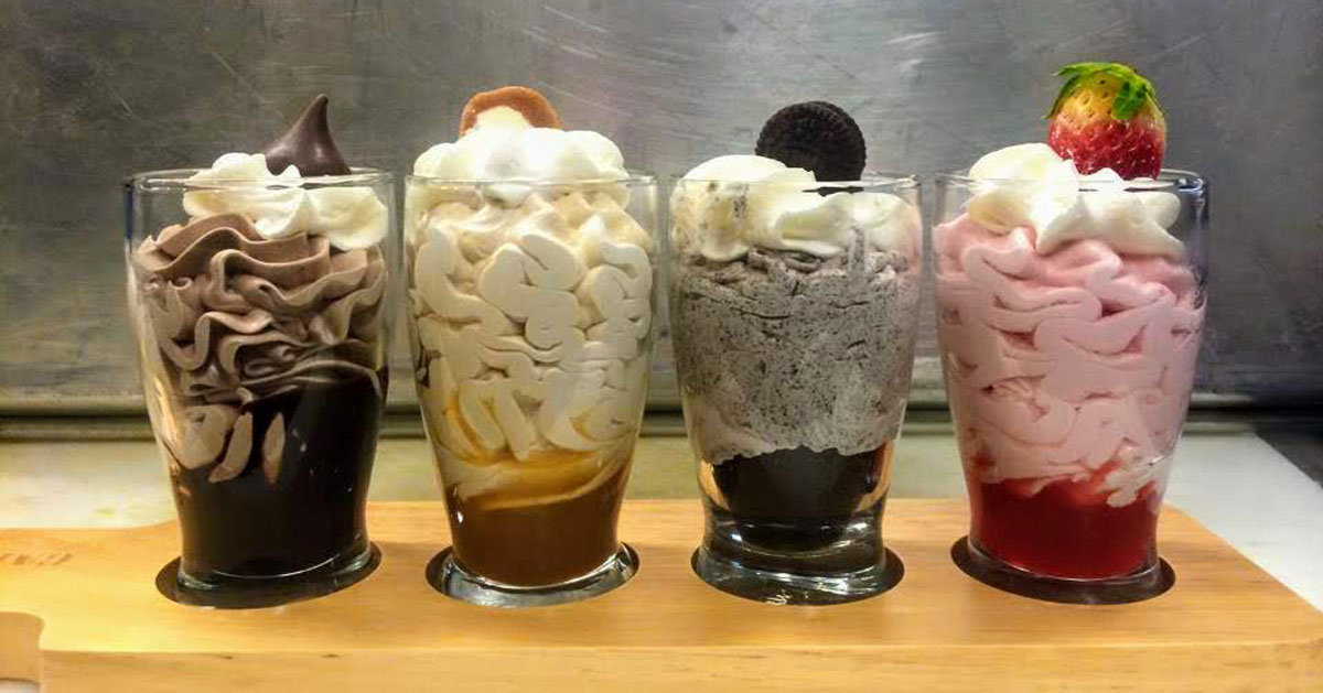 four ice cream dishes in a row