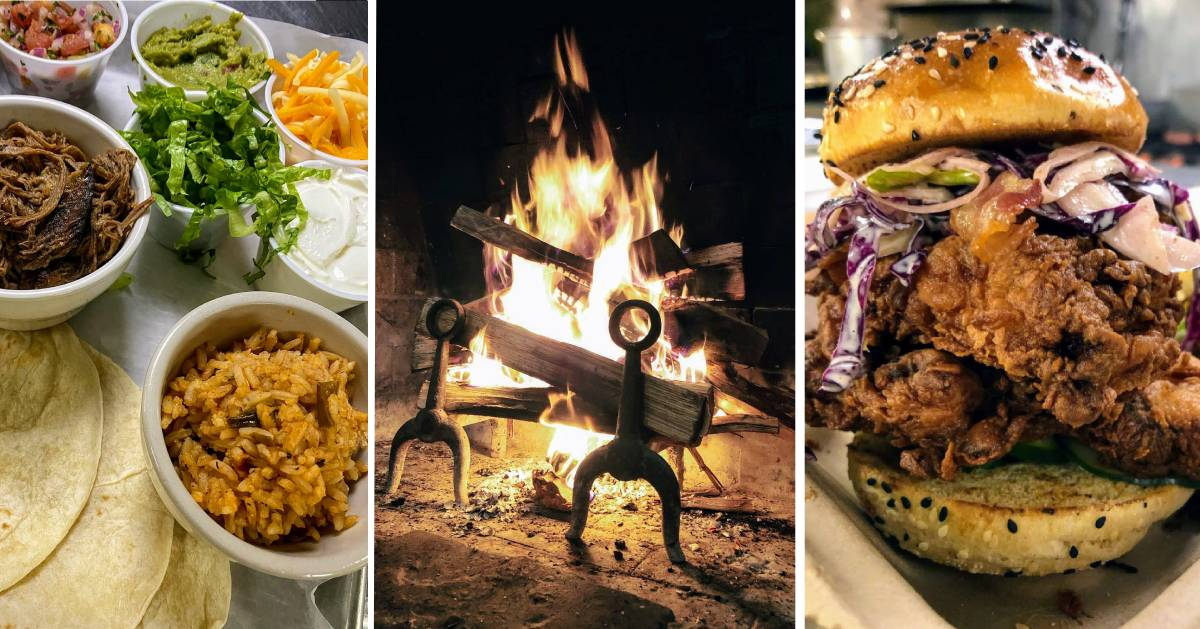 image split in three with food on left and right and fire in the middle