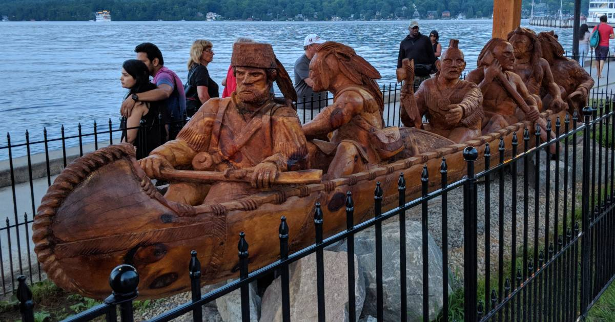 canoe carving with Indians and trappers