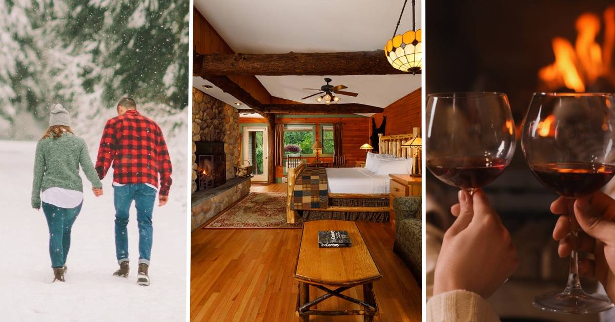image split in three of couple walking in snow, romantic room in lodge, and two wine glasses