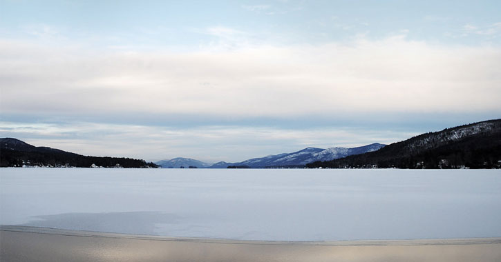 a view of frozen Lake George