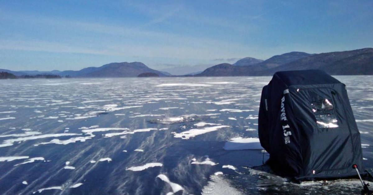 ice fishing backpack on frozen lake