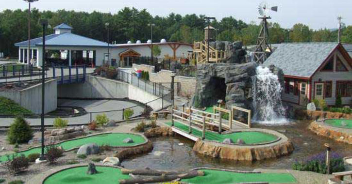 a somewhat aerial view of a mini-golf course