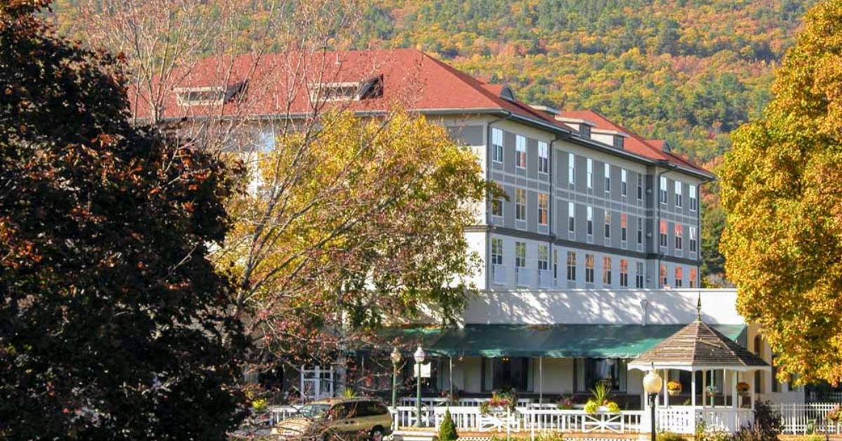 hotel surrounded by fall foliage