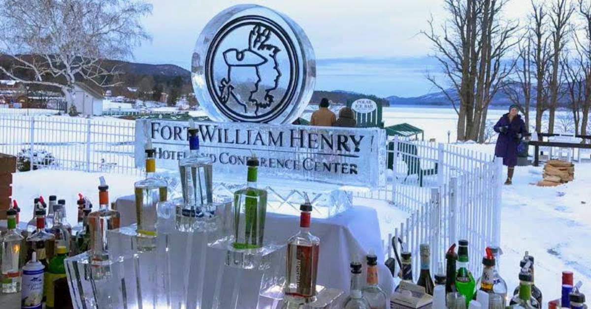 ice bar with liquor bottles