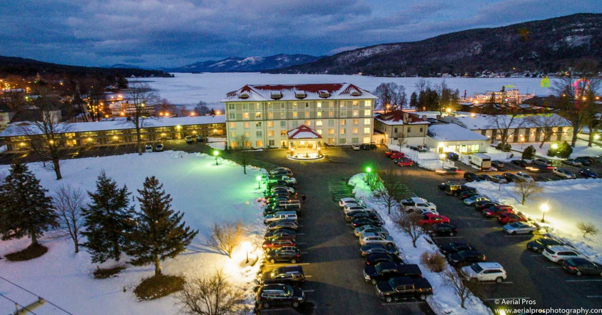 aerial view of Fort William Henry Hotel in winter