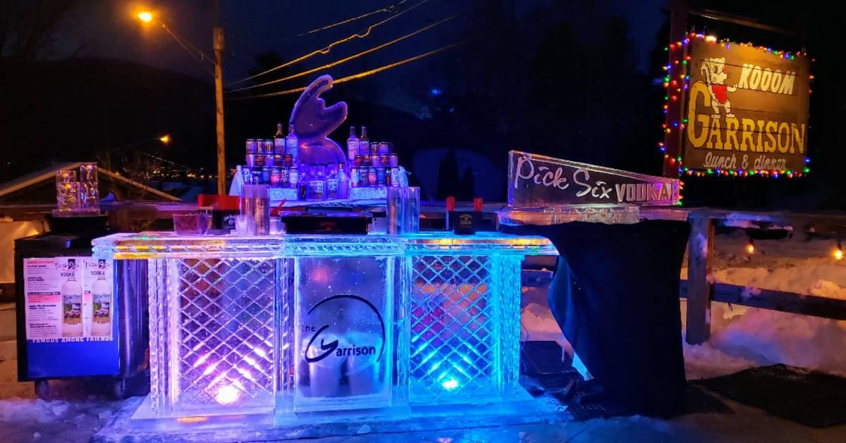 Garrison ice bar at night