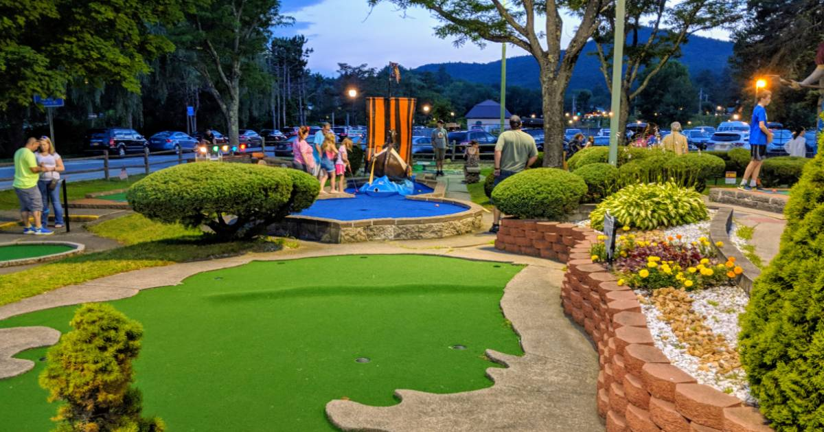 mini golf course in the evening