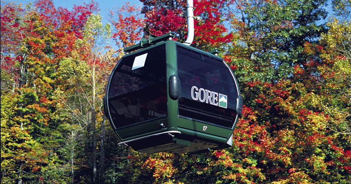 a Gore gondola with fall foliage surrounding it
