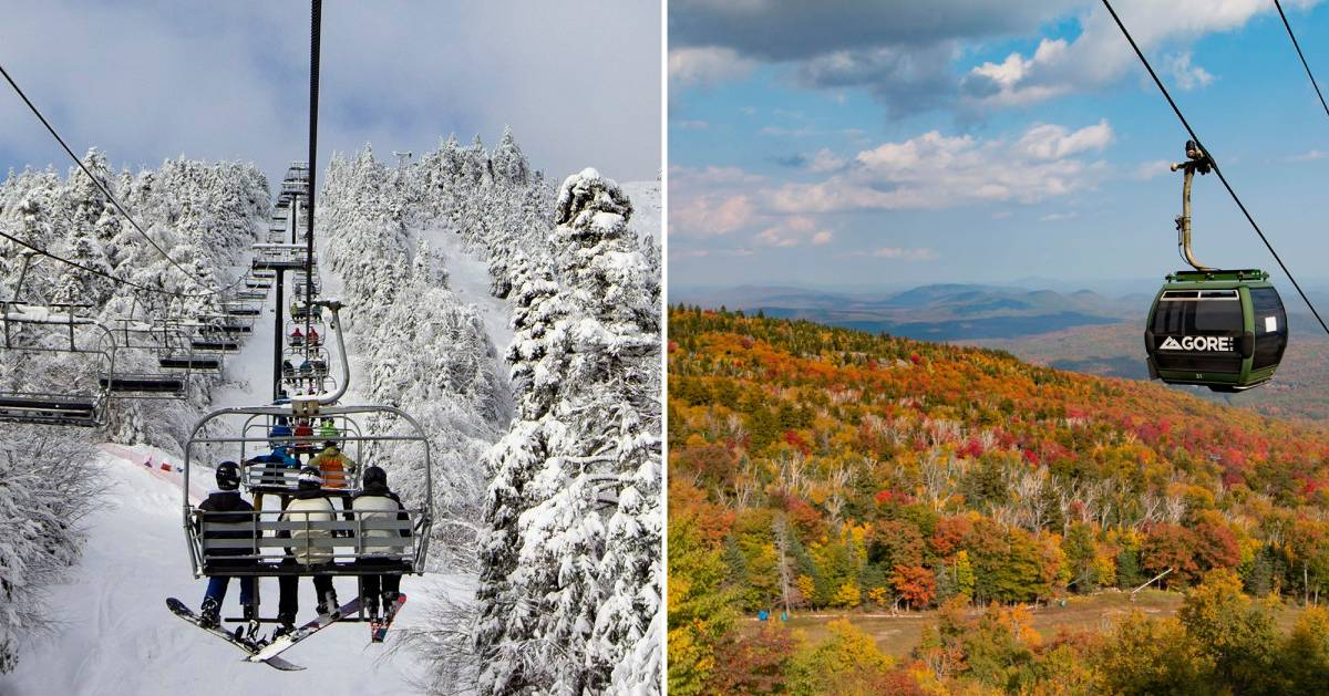 split image with ski lift in the winter on the left and gondola in the fall on the right