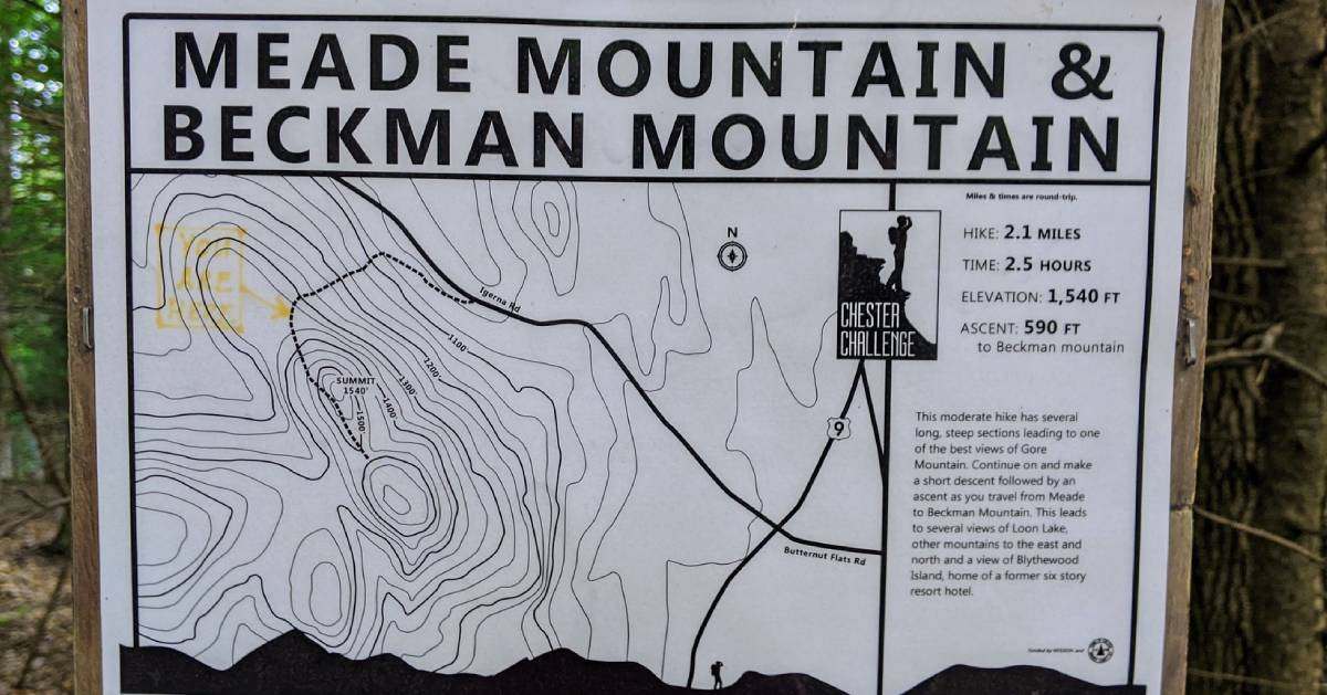 trail sign for Meade and Beckham mountains and Chester Challenge