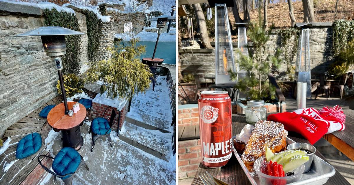 two photos of patio tables and heaters in winter