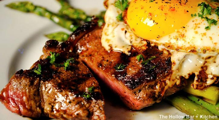 steak and eggs at the hollow