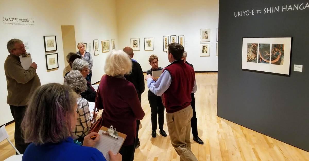 people at art exhibit