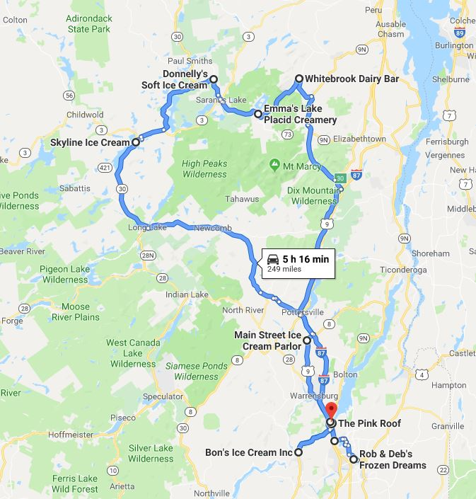 map lake george ny Ice Cream Trail Lake George To Lake Placid map lake george ny