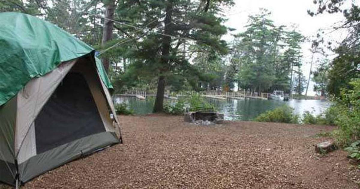 a camping tent on an island