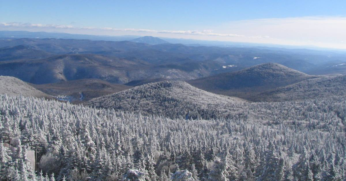 view from mountain summit in winter