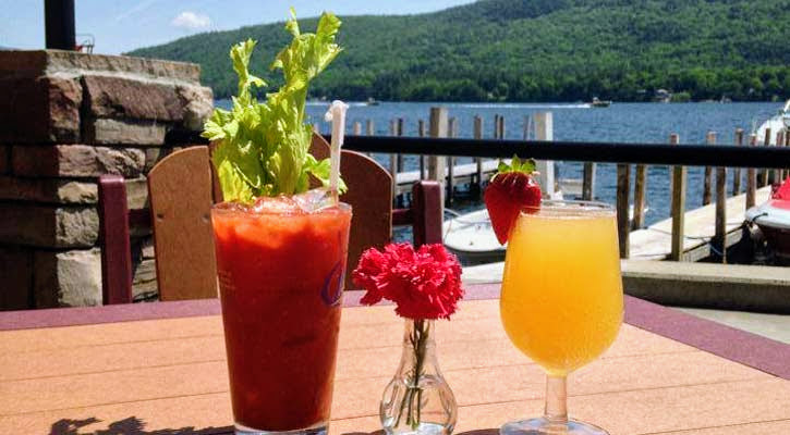 Bloody Mary and mimosa on the deck by the water