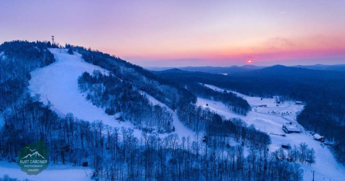aerial view of ski mountain