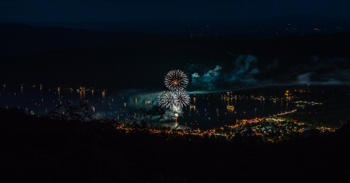fireworks over lake george as viewed from prospect mountain