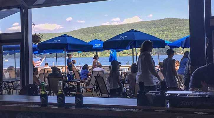 people on restaurant deck